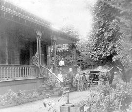 Judge John Hamilton Gray and others outside his Fort Street home in Victoria.