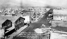 """Birds eye view of Victoria Avenue, Fernie BC, two months after the great fire of August 1, 1908"""