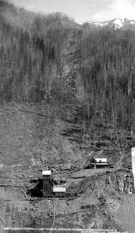 """Lower terminal, Last Chance Mine, showing tramway to mines, Sandon, BC""; miscellaneous..."