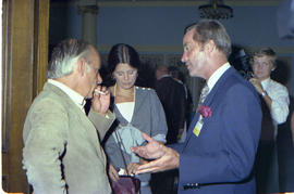 Rene Levesque and Bill Bennett in conversation at the Premiers' Conference.