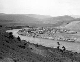 A view looking east to Ashcroft, on the Thompson River; bridge and Canadian Pacific Railway to th...