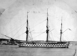 HMS Ganges at anchor in Victoria.
