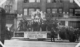 Hudson's Bay Company float going past the Hotel Douglas; corner of Pandora and Douglas Stree...