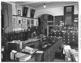 """Archives Department Exhibit Room, 1949"", shows one of three well lighted rooms allotte..."