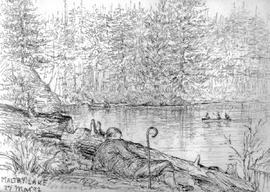 Maltby Lake [Showing Reclining Figure With Cane Watching Boaters On Water]