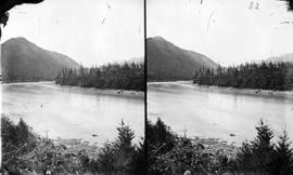 Cariboo Road opposite Yale, looking downstream, stereo view.