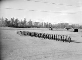 Troops awaiting inspection by the Princess Elizabeth, Duchess of Edinburgh and Prince Philip, Duk...
