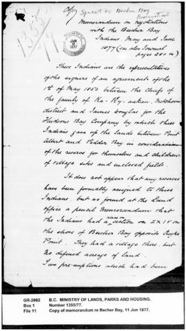 Copy of memorandum by Sproat on reserves for the Becher Bay Indians