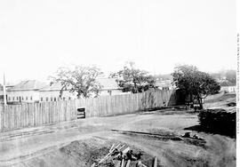 Hudsons Bay Company warehouses and stockade, southwest bastion and wall, Wharf St., Fort Victoria