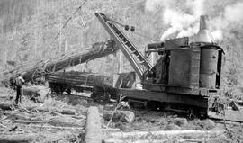 Locomotive crane loading at the Bloedel Stewart and Welsh operation at Franklin River.