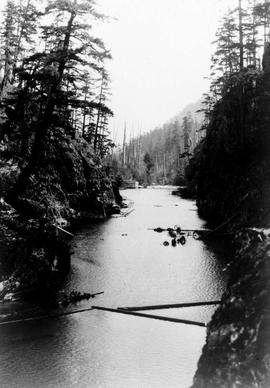 """From west end of canyon, Nanaimo Dam construction, 19 Aug 1930"", No 12."