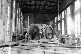 Ocean Falls pulp and paper mill; installing Pelton wheel in the powerhouse