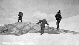 Survey team crossing a snowfield on Blane Mountain, east of Kitlope Lake.