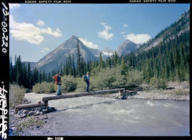 Hikers Crossing Nivelle Creek In Elk Lakes Park