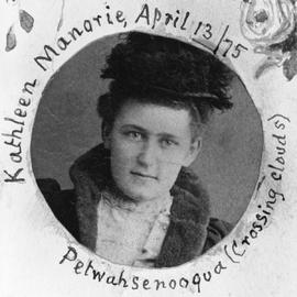"""Kathleen Manarie, April 13/75; Petwahsenooqua (Crossing Clouds)""; daughter of Reverend..."
