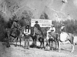 Bonaparte River Indian women on horseback - British Columbia.