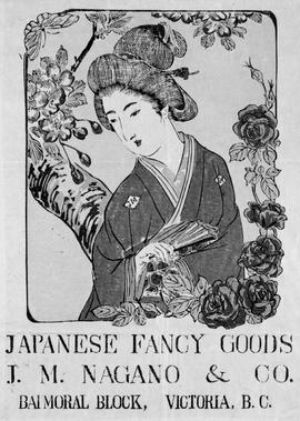 """Japanese Fancy Goods, J.M. Nagano and Co., Balmoral Block, Victoria."""