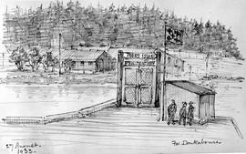 """For Doukhabors"" [Doukhobors]; showing entrance wharf to Piers Island Penitentiary"
