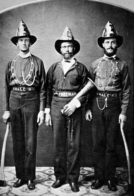 Members of the Union Hook and Ladder Company No. 1, Victoria;  left to right: Edward Ferris, Joseph Wriglesworth and William Reynolds