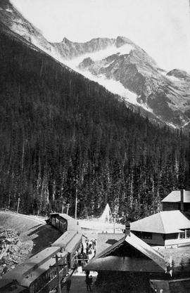 """A scene in the Canadian Rockies; the station at Glacier, with Mount Sir Donald in the distance"""