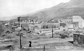 """Rebuilding Fernie BC after the great fire of August 1, 1908."""
