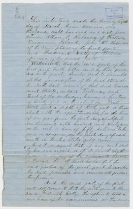 Indenture between Allan T. Robinson, John B. Robinson and Frederick Dally. Victoria