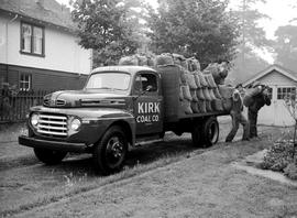 Kirk Coal Company Delivery Truck And Crew At Work, Victoria.
