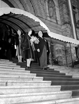 The Princess Elizabeth, Duchess of Edinburgh on the steps of the Legislative Buildings during her...