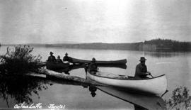 Crew canoeing on Ootsa Lake.