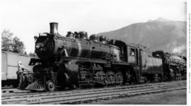 2-10-0, Decapod no. 5773, 3/4 left, closeup, good detail, Revelstoke, BC 1944