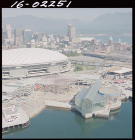 Aerial photo of BC Place and the BC pavilion for Expo 86 in Vancouver