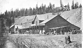 Colonial Hotel owned by Bob McLeese.  Soda Creek.  Fraser River.