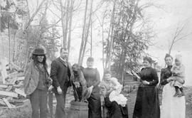 Mr. and Mrs. Geigrich [Giegerich], their family, a friend and their dog; Ainsworth