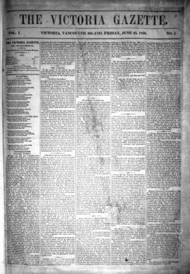 The front page of the first newspaper published in BC