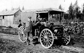 """Abbott And Abbott, Plumbers And Tin Salvage""; Cephus Abbott And Roy Soloway With Truck."