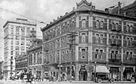"""Corner of Douglas and Yates Street, Victoria, BC""; the Clarence Hotel on the northeast..."