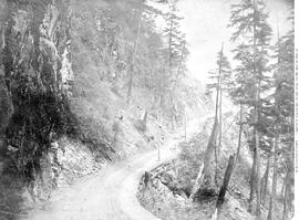 22 miles above Yale; The ascent to China Bar Bluff; Fraser River wagon road.