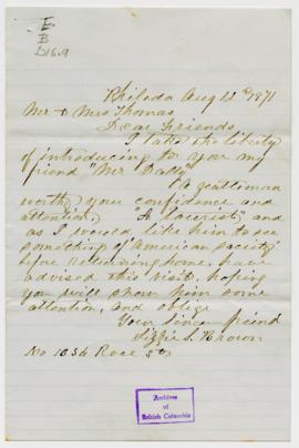 Letters of Introduction: 3. Lizzie S. Brown: 1 letter and 1 envelope