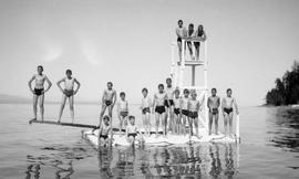 A group of boys swimming at Qualicum Beach; students of Qualicum Beach School; became Qualicum Co...