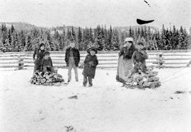 A family collecting fire wood at Fort St. James, BC.