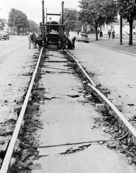 Cook Street during the removal of the streetcar tracks