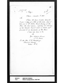 Amor De Cosmos to T.B. Humphreys: enclosing copy of a letter to R.G. Tatlow