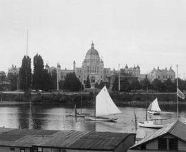A view of the new legislative buildings before the removal of the Birdcages; Victoria.