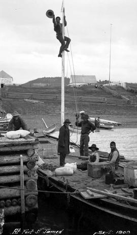Stuart Lake and River, Hudson's Bay boat, Siwash up mast at Fort St. James