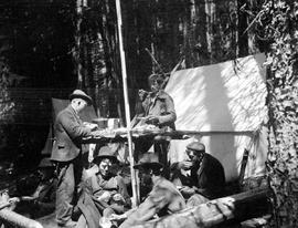 A meal in the Meadow Creek camp.