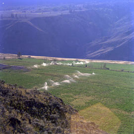Watering fields at a farm in Marble Canyon of the Fraser River