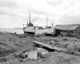 Fishboat Beached At Skidegate Mission