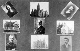 A collage of photos of Victoria Methodist Ministers and churches; top centre Metropolitan Methodi...