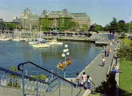 The Empress Hotel and the causeway on Victoria's Inner Harbour.