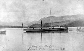 Steamer 'Lady of the Lake' on Dease Lake near Cassiar; looking south from Porter's Landing.